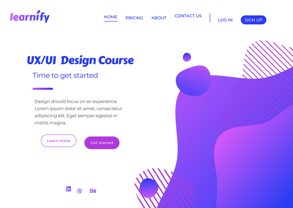 A website page for a fictional company called 'Learnify'. At the top is a navigation bar with options for different pages. The options are not in a straight line. Other objects on the page are misaligned with each other creating an uneven feel.