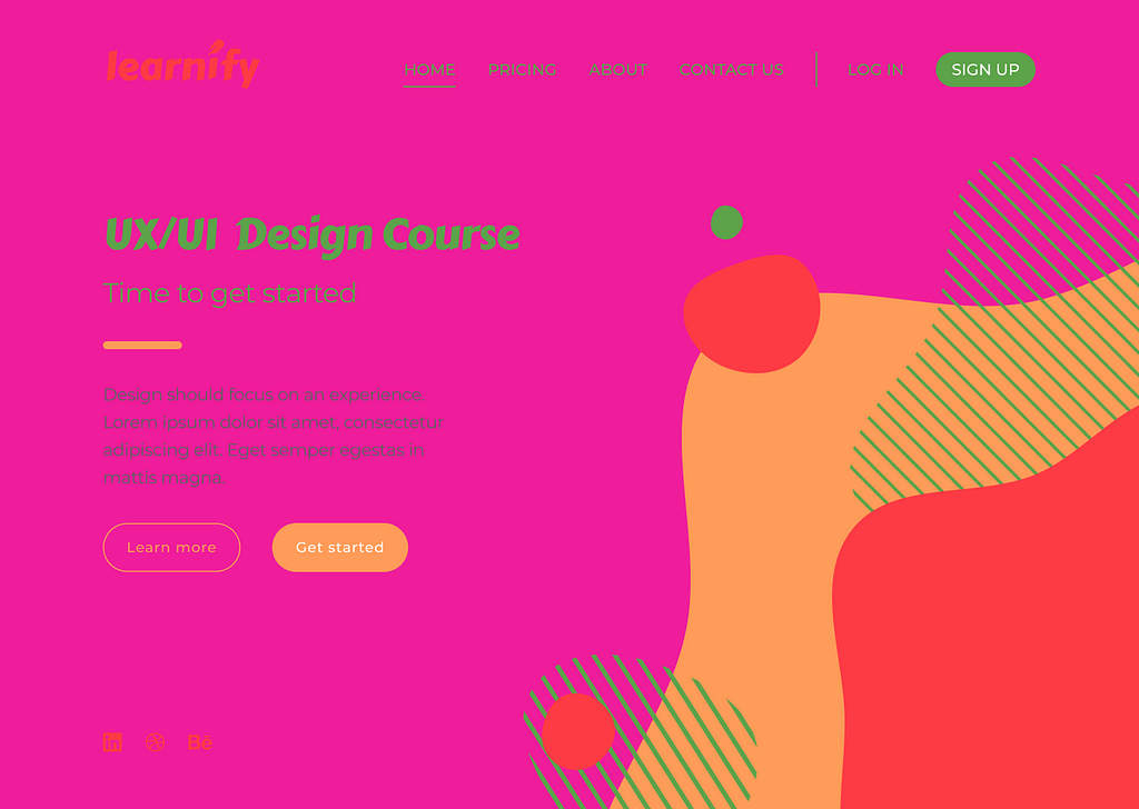 A website page for a fictional company called 'Learnify'. The page colours have been altered to bright pink, orange, and red, making it overwhelming to the eye and difficult to read the text. The colours do not seem to match and are unattractive as a whole.