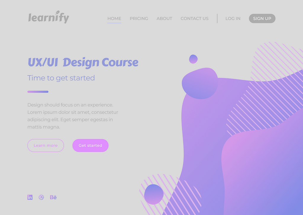 A website page for a fictional company called 'Learnify'. The colours on the page are dimmed and the background is grey. The text is very hard to read as a result.