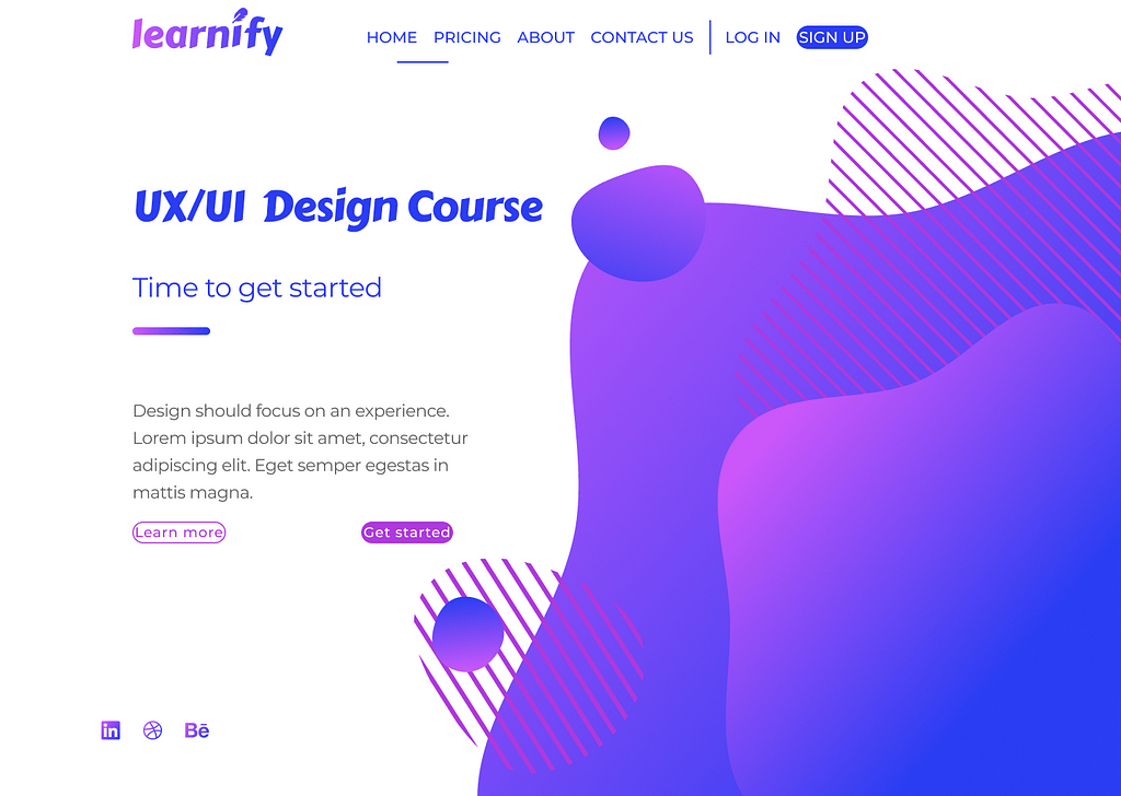 A website page for a fictional company called 'Learnify'. The decorative elements on the page overwhelm the buttons and text. The button text is too large for its borders.