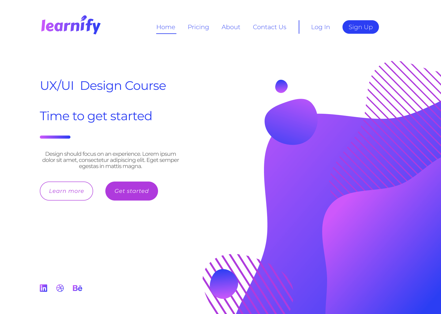 A website page for a fictional company called 'Learnify'. The text on the page is cluttered and there is no clear sense of flow when reading the material.