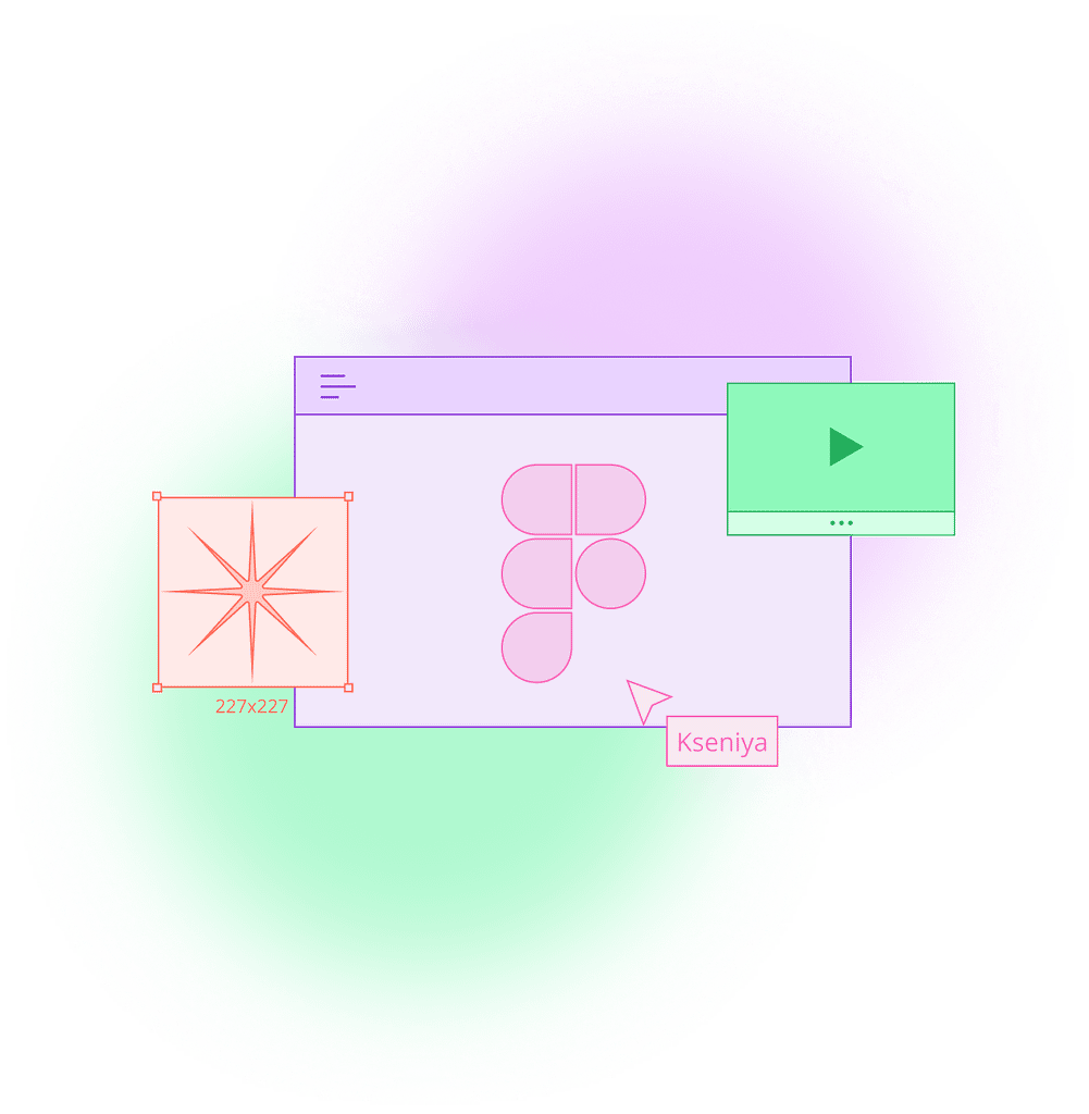 Image illustrating user hovering over Figma software window, prototype view window, and a selected design element