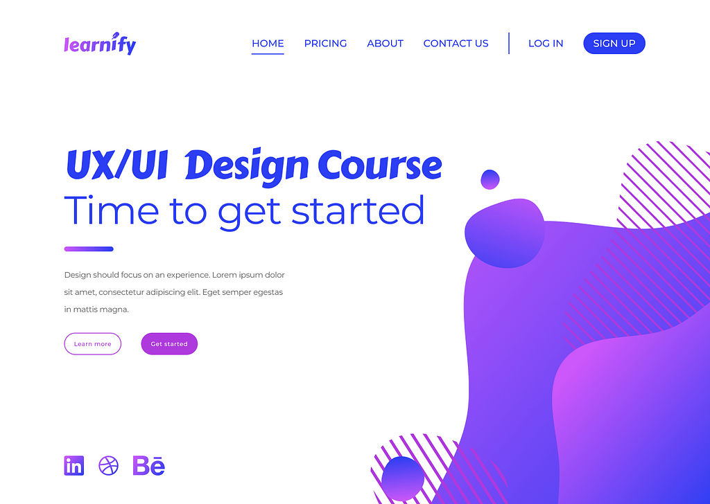 A website page for a fictional company called 'Learnify'. The objects on the page are all the wrong size. The heading is too big compared to the small action buttons and the social media icons are very large.