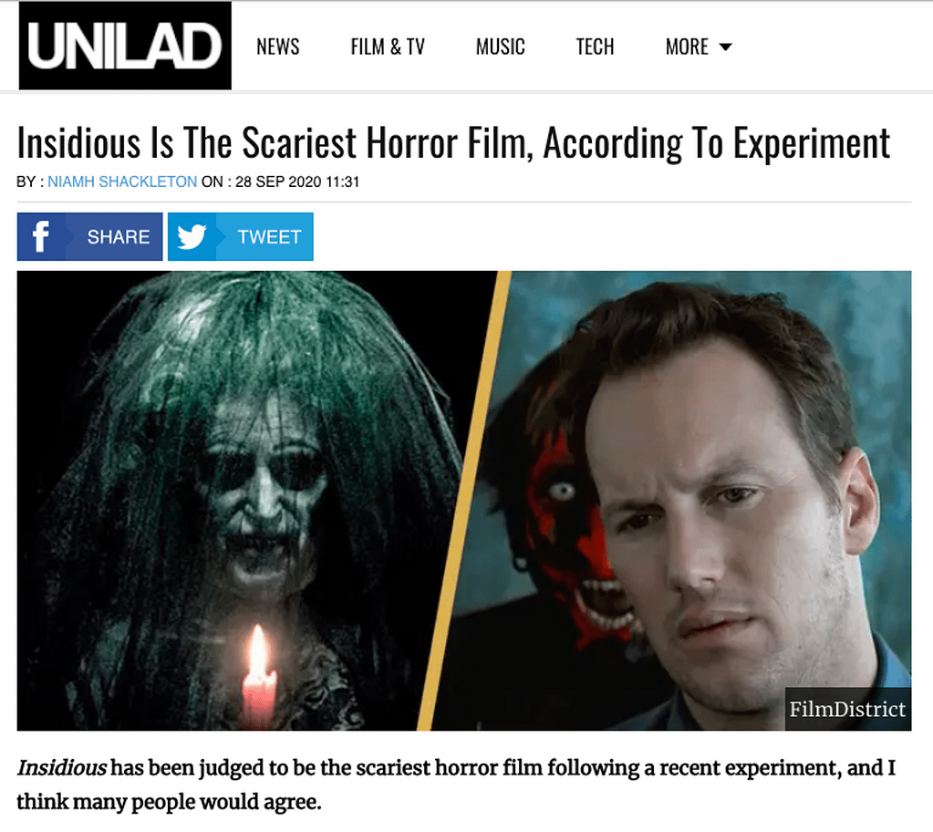 article snapshot with headline and images of a monster and a white man looking concerned