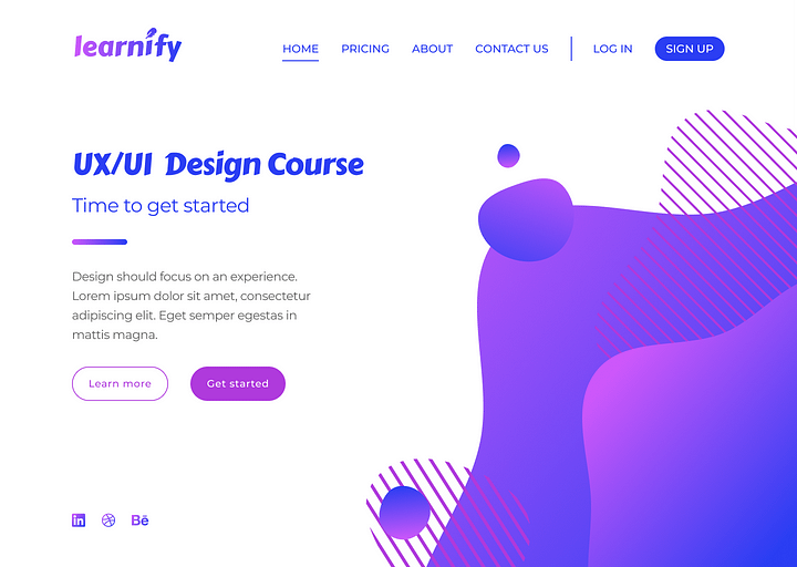 A website page for a fictional company called 'Learnify' that successfully demonstrates all of the design principles in this post.