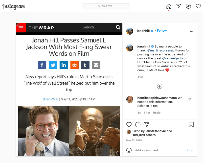 Instagram snapshot portraying a white-background comment field as well as a news story with a picture of black bald man speaking on the phone and white man with brown curly hair wearing spectacles and speaking on the phone
